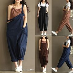 Hot-sale O-NEWE Casual Strap Pockets Jumpsuit Romper Trousers Overalls For Women - NewChic Mobile.