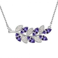 $1.00 Sparking Rhinestoned Leaf-Shaped Pendant Necklace For Women