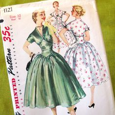 1950s Vintage Sewing Pattern Full skirt Dress with by SelvedgeShop