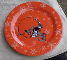 Cleveland Browns Melamine Plates,set of 4,orange,helmet,snowflakes,NFL,sports #ForeverCollectibles #ClevelandBrowns