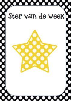 Ster van de week. Elke week is een ander kind de ster van de week. De leerlingen schrijven dingen op die de ster goed kan. Polka dot. © Sarah Verhoeven
