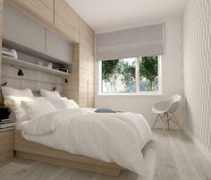 pont de lit moderne en bois clair et blanc dans la petite chambre