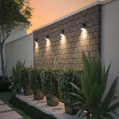 Neutrino LED Outdoor Wall Sconce is part of Outdoor landscape lighting - With a minimalist modern approach in mind, the Neutrino compact outdoor sconce l Backyard Patio Designs, Small Backyard Landscaping, Landscaping Ideas, Garden Wall Designs, Arizona Backyard Ideas, Mulch Landscaping, Outdoor Wall Lighting, Outdoor Walls, Lighting Ideas