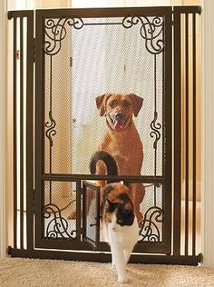 """Contain pets of any size without sacrificing your homes style with the 42""""H Tension-mount Dual Door Steel Mesh Pet Gate; complete with dual doors to allow selective use for pets of various sizes."""