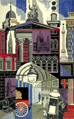 'The City' by Edward Bawden for a poster for the London Underground, 1952 (lithograph) London Underground, Underground Tube, Illustrations, Illustration Art, London Illustration, Urbane Kunst, Poster S, Poster City, A Level Art