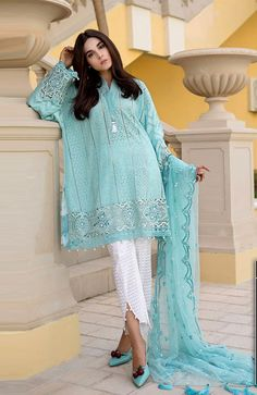 Maria B. Voyage Á Luxe Lawn Collection 2018 – Niftilicious Pakistani Dresses Party, Simple Pakistani Dresses, Pakistani Fashion Casual, Pakistani Dress Design, Pakistani Outfits, Indian Outfits, Stylish Dress Designs, Designs For Dresses, Kurti Designs Party Wear
