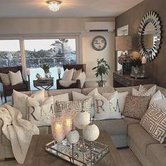 Stunning Rustic Living Room Design Ideas Rustic style is a popular interior style particularly suited to people who want a unique, handmade products, Living Room Decor Cozy, New Living Room, Small Living, Bedroom Decor, Master Bedroom, Cozy Bedroom, Living Room Decor Silver, Beige And White Living Room, Bedroom Furniture