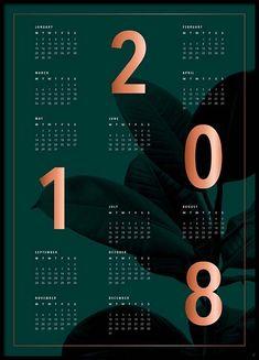 Calendar 2018 green Plakat i gruppen Plakater / Størrelser / 50x70cm hos Desenio AB (3412)