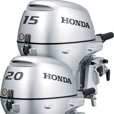 Honda BF15 BF20 Outboards:  For smaller 12 to 16 foot boats, the BF15 and BF20 are as convenient as you can get. At just 104 pounds, they are among the lightest in their class. Yet they're all Honda DNA: quiet, reliable, fuel efficient, and loaded with features. Like the highest output charging system in their class, giving you plenty of power for all your electronics, even when trolling.  See more at: http://safeseashop.com/product/honda-bf15-bf20-outboards/