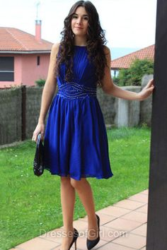 Short Prom Dress, Chiffon Prom Dresses, Scoop Neck Homecoming Dress, A-line Homecoming Dresses, Royal Blue Cocktail Dress