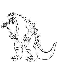 Cartoon Animated Godzilla Coloring Page | Godzilla Birthday Party ...