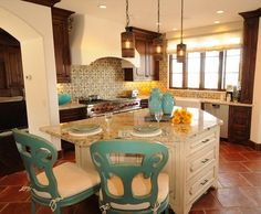 spanish style kitchens | love the cans on the lights | spanish style homes