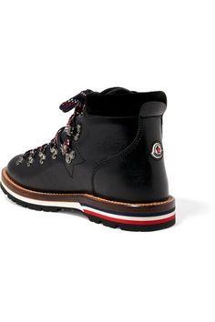 Moncler - Blanche Velvet-trimmed Leather Ankle Boots - Black