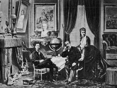 Emperor Napoleon III with Empress Eugenie and Prince Imperial at Camden Place, Chislehurst in 1872.