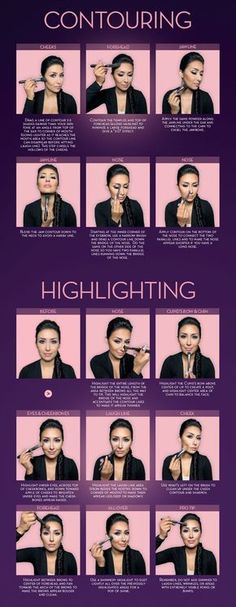 Makeup Idea 2018 Highlight and contour guide. Courtesy of Anastasia Beverly Hills and Dress Your Face. Highlighter Makeup, Contour Makeup, Contouring And Highlighting, Skin Makeup, Contouring Products, Contouring Guide, Love Makeup, Makeup Tips, Beauty Makeup