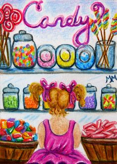 NFAC Original ACEO Mixed Media CANDY SHOPPE Girl Child Jars Figure Dance Drawing #Miniature