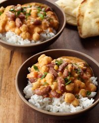 Three-Bean Dal | Contributed By: Vikram Sunderam | Chef Way Whole black lentils, split Bengal gram (split dried chickpeas) and red kidney beans all need to soak overnight for this soothing, creamy bean dish. Easy Way Quick-cooking split yellow peas and canned beans make this recipe fast but still totally satisfying. | From: foodandwine.com