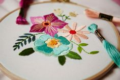 Head over to DMC.com to download our free 'Floral Bouquet' embroidery pattern and learn how to embroider. Head over to DMC.com to discover our 1000+ free craft and embroidery patterns and get crafting today! Modern Embroidery, Floral Embroidery, Embroidery Patterns, Floral Bouquets, Designer Collection, Free Design, Free Pattern, Crafting, Bloom