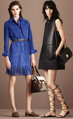 Bally Resort 2016 - Fringed Suede Dress In True Blue and Nappa Leather Dress In Black
