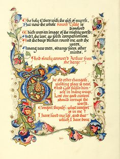"""Alfred Lord Tennyson's Morte d'Arthur """"Designed, Written Out, and Illuminated"""" by Alberto Sangorski Medieval Books, Medieval Manuscript, Medieval Art, Illuminated Letters, Illuminated Manuscript, Inspirational Poems, Album Book, Letter Art, Calligraphy Art"""