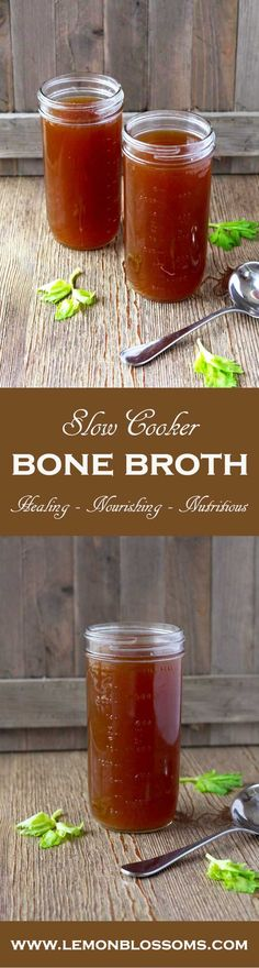 This Slow Cooker Beef Bone Broth is loaded with flavor and nutrients. Great for sipping or as a base for soups, stews, sauces and to use as a cooking liquid.