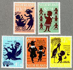 こちらはオランダの切手です。影絵のようなデザインがキュートです。