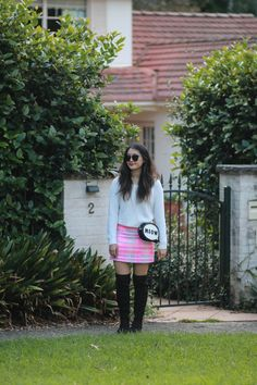 STYLE SMORGASBORD // how to wear neon in the fall, autumn, colder months, winter, neon marcs tweed mini skirt hot pink, black over the knee suede boots, meow sophia webster inspired bag from colette by colette hayman, oscar wylee sunglasses and white waffle knit jumper from dotti cute sydney blogger australia young fresh preppy