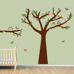 Owl Tree Art Owl Tree decal Owl Wall Decal by vinylartforwalls, $84.00
