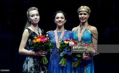 Silver medalist Elena Radionova of Russia (L-R), gold medalist Evgenia Medvedeva of Russia and bronze medalist Anna Pogorilaya of Russia pose during the medal ceremony of Ladies Free Skating during day three of the ISU European Figure Skating Championships 2016 on January 29, 2016 in Bratislava, Slovakia.