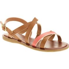 Faded Glory Girls' Cross Strap Sandal, Infant Girl's, Size: 4, Brown