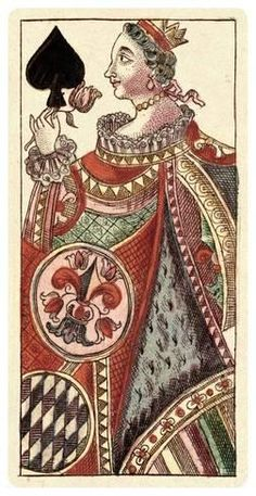 Stretched Canvas Print: Queen of Spades (Bauern Hochzeit Deck) by Andreas Benedictus Gobl : Art Carte, Queen Of Spades, Vintage Playing Cards, Painting Edges, Stretched Canvas Prints, Deck Of Cards, Find Art, Framed Artwork, Thing 1