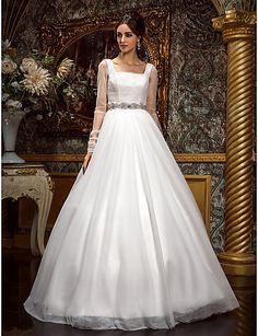 A-line Princess Square Floor-length Tulle Wedding Dress - USD $ 197.99