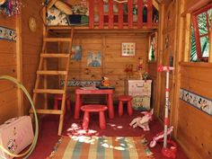 I like the loft idea Cool Outdoor Playhouses for Kids