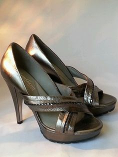 Kenneth Cole New York Metallic Leather Open Toe  Fair Shake Heels Size 8M  #KennethCole #OpenToe