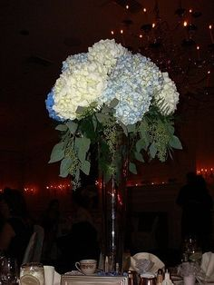 Beautiful centerpieces made with Hydrangeas in bulk to create your own wedding decoration! Check them out at http://www.bridesign.com/Wedding-Flowers_4/Wedding-Flowers-Bulk-Flowers-Hydrangeas/HBQty30-Blue-Loose-Stems-Hydrangea