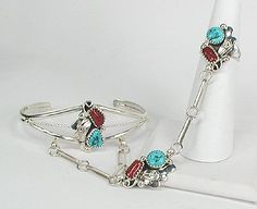 Sterling Silver, Turquoise and Coral Navajo Made Slave Bracelet