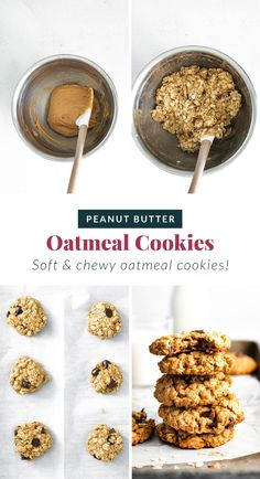 Perfectly chewy on the inside and crispy on the outside peanut butter chocolate chip cookies. These are seriously the best healthy peanut butter oatmeal cookies you've ever had! Soft Chewy Oatmeal Cookies, Oatmeal Chocolate Chip Cookies, Baking Recipes, Cookie Recipes, Dessert Recipes, Gf Recipes, Peanut Butter Oatmeal, Healthy Peanut Butter, Gluten Free Desserts