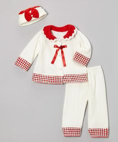 Another great find on #zulily! Red & White Sequin Jacket Set - Infant by Shanil #zulilyfinds