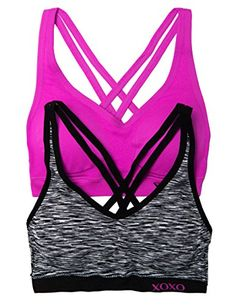 abbc69d85fa6f XOXO Juniors 2 Pack Cross Back Comfort Sports Bra with Removable Pads Small  SpcCur  gt