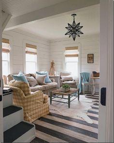 Horizontal stripes on hardwood floors will make room appear wider. Neat trick!  #blair #flooring #home #improvement #hardwood