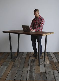 Standing Height Urban Harvest Wood Desk and U shape legs in choice of sizes or finishes (flared base Standing Table, Standing Desks, Modern Rustic, Rustic Style, Modern Wood Desk, Desk Height, Industrial Style, Industrial Lamps, Industrial Furniture