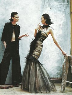 Chanel Haute Couture on Ling Tan and Shalom Harlow | Photo by Peter Lindbergh | Vogue US April 1997
