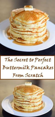 The Secret to Perfect Buttermilk Pancakes from Scratch - The Secret to Perfect . - The Secret to Perfect Buttermilk Pancakes from Scratch – The Secret to Perfect … – The Secr - What's For Breakfast, Breakfast Pancakes, Pancakes And Waffles, Breakfast Items, Breakfast Dishes, Breakfast Recipes, Buttermilk Pancakes Easy, Making Pancakes, Pancake Recipes