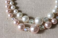 Pink Pearl Necklace / Vintage 1950s Necklace by TheVintageMistress