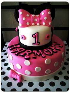 Pink Minnie Mouse Cake. Similar to how I want Jocelyns personal cake. Not the top bow or ears.