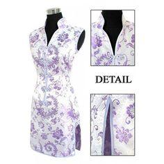 Periwing Lilac Satin Straight Lapel V Collar Phoenix Tails Mini Chinese Dress Qipao