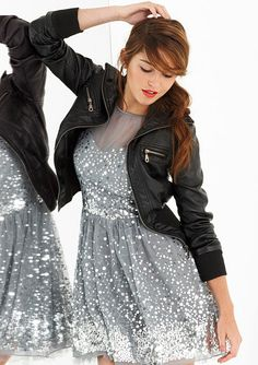 Nice sparkle to this shiny silver party dress.