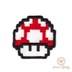 Super Mario Bros. Red Mushroom  Inspired - Iron-on Patch