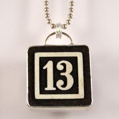 Number 13 Pendant from XOHandworks on Etsy.com