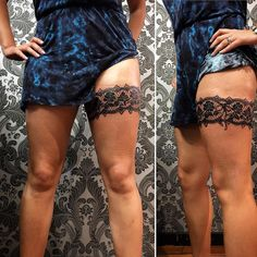 25 Amazing Garter Belt Tattoo Designs For Women - Bafbouf Best Tattoos For Women, Tattoo Designs For Women, Trendy Tattoos, Garter Belt Tattoo, Lace Garter Tattoos, Body Art Tattoos, Girl Tattoos, Sleeve Tattoos, Tatoos